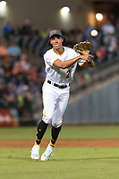 AFL West shortstop Cole Tucker (2), of the Surprise Saguaros and Pittsburgh Pirates organization, throws to first base during the Arizona Fall League Fall Stars game at Surprise Stadium on November 3, 2018 in Surprise, Arizona. The AFL West defeated the AFL East 7-6 . (Zachary Lucy/Four Seam Images)