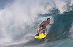 Sandys beach action with high wave on Ohau, Hawaii.