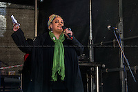 """Zita Holbourne (PCS NEC / Black Activists Rising Against Cuts, BARAC).<br /> <br /> London, 22/03/2014. """"Stand Up To Racism & fascism - No to Scapegoating Immigrants, No to Islamophobia, Yes to Diversity"""", national demo marking UN Anti-Racism Day organised by TUC (Trade Union Congress) and UAF (Unite Against Fascism).<br /> <br /> For more information please click here: http://www.standuptoracism.org.uk/"""