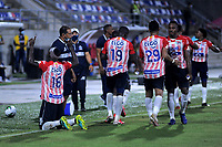 BARRANQUILLA - COLOMBIA, 08-11-2020: German Mera de Atletico Junior, celebra el gol anotado a Alianza Petrolera, durante partido entre Atletico Junior y Alianza Petrolera, de la fecha 18 por la Liga BetPlay DIMAYOR 2020 jugado en el estadio Romelio Martinez de la ciudad de Barranquilla. / German Mera of Atletico Junior celebrates the scored goal to Alianza Petrolera, during a match between Atletico Junior and Alianza Petrolera of the 18th date for the BetPlay DIMAYOR Leguaje 2020 played at the Romelio Martinez Stadium in Barranquilla city. / Photo: VizzorImage / Jesus Rico / Cont.