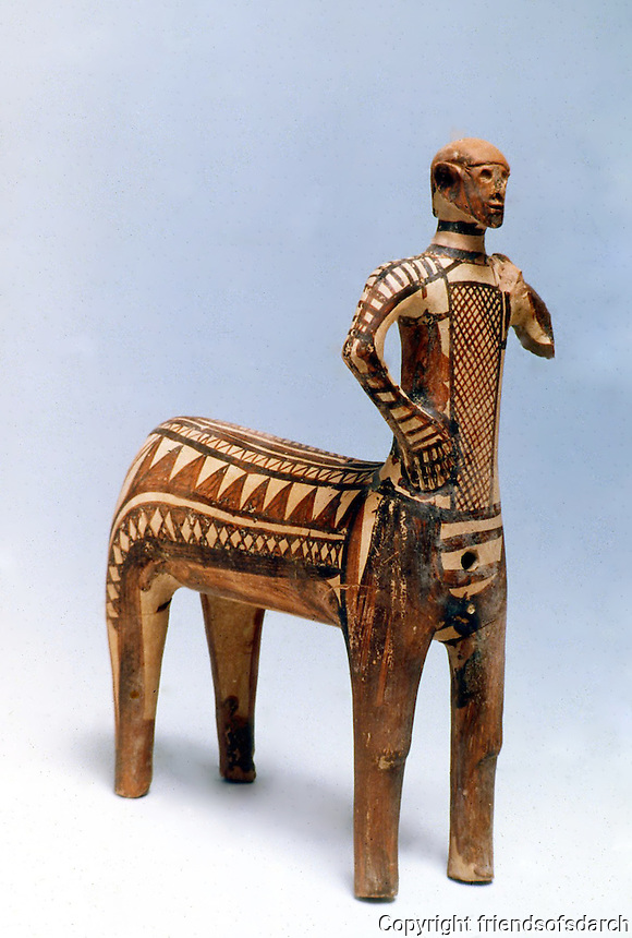Greek Arts:  Statuette of a Centaur, end of the 10th century B.C.  Greek Ministry of Culture, Athens.