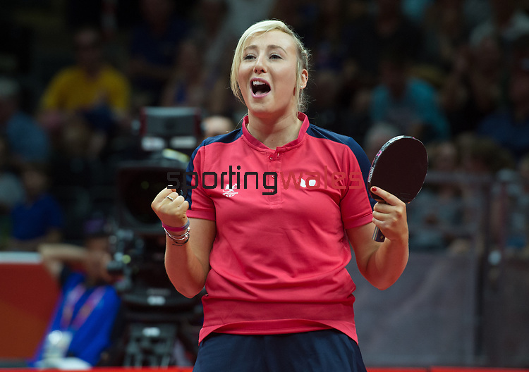Wales Charlotte Carey celebrates winning <br /> <br /> *This image must be credited to Ian Cook Sportingwales and can only be used in conjunction with this event only*<br /> <br /> 21st Commonwealth Games - Table tennis -  Day 2 - 06\04\2018 - Oxenford - Gold Coast City - Australia