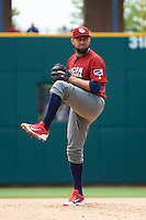 Lehigh Valley IronPigs relief pitcher Edward Mujica (43) during a game against the Columbus Clippers on May 12, 2016 at Huntington Park in Columbus, Ohio.  Lehigh Valley defeated Columbus 2-1.  (Mike Janes/Four Seam Images)
