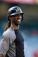 Andrew McCutchen #22 of the Pittsburgh Pirates before a game against the Los Angeles Angels at Angel Stadium on June 21, 2013 in Anaheim, California. (Larry Goren/Four Seam Images)
