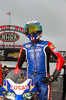 Aug 31, 2014; Clermont, IN, USA; NHRA pro stock motorcycle rider Hector Arana Sr during qualifying for the US Nationals at Lucas Oil Raceway. Mandatory Credit: Mark J. Rebilas-USA TODAY Sports