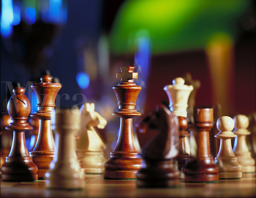 Chess pieces on a chess board. United States.