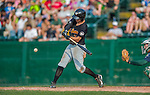 12 July 2015: West Virginia Black Bears outfielder Kevin Kramer, a second round draft pick for the Pittsburgh Pirates organization, in action against the Vermont Lake Monsters at Centennial Field in Burlington, Vermont. The Lake Monsters rallied to defeat the Black Bears 5-4 in NY Penn League action. Mandatory Credit: Ed Wolfstein Photo *** RAW Image File Available ****