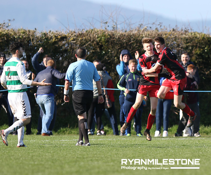 FAI Junior Cup Quarter Final.<br /> Peake Villa v Sheriff YC<br /> Tower Grounds,<br /> Thurles, Co Tipperary<br /> Sunday 12th March 2017<br /> William McCarthy (Peake Villa) celebrates after scoring a goal.<br /> Photo Credit: Michael P Ryan