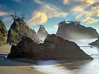 Sunset on beach with seastacks in Samuel H. Boardman State Scenic Corridor.