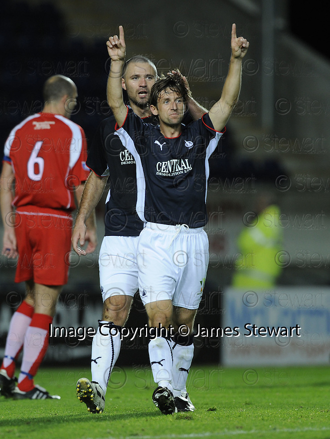 23/09/2008  Copyright Pic: James Stewart.File Name : sct_jspa02_falkirk_v_qots.NEIL MCCANN CELEBRATES SCORING FALKIRK'S FIRST....James Stewart Photo Agency 19 Carronlea Drive, Falkirk. FK2 8DN      Vat Reg No. 607 6932 25.Studio      : +44 (0)1324 611191 .Mobile      : +44 (0)7721 416997.E-mail  :  jim@jspa.co.uk.If you require further information then contact Jim Stewart on any of the numbers above........