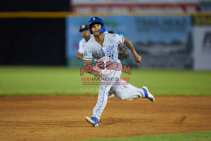 Kevon Jackson (11) of the Burlington Royals takes his lead off of second base against the Pulaski Yankees at Calfee Park on September 1, 2019 in Pulaski, Virginia. The Royals defeated the Yankees 5-4 in 17 innings. (Brian Westerholt/Four Seam Images)