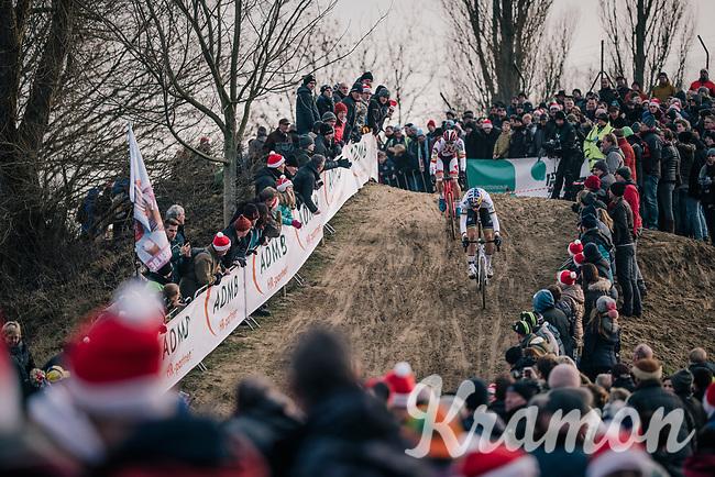 Wout van Aert (BEL/Crelan-Charles) & Laurens Sweeck (BEL/Era-Circus) battling it out<br /> <br /> Elite Men's Race<br /> Belgian National CX Championships / Koksijde 2018
