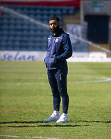 24th April 2021; Dens Park, Dundee, Scotland; Scottish Championship Football, Dundee FC versus Raith Rovers; Alex Jakubiak of Dundee inspects the pitch before the match