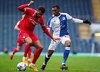 Nottingham Forest's Cyrus Christie shields the ball from Blackburn Rovers' Amari'i Bell<br /> <br /> Photographer Alex Dodd/CameraSport<br /> <br /> The EFL Sky Bet Championship - Blackburn Rovers v Nottingham Forest - Saturday 17th October 2020 - Ewood Park - Blackburn<br /> <br /> World Copyright © 2020 CameraSport. All rights reserved. 43 Linden Ave. Countesthorpe. Leicester. England. LE8 5PG - Tel: +44 (0) 116 277 4147 - admin@camerasport.com - www.camerasport.com
