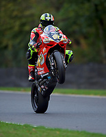 Shane Byrne (67) of Be Wiser Ducati pulls a wheelie after 2nd practice in the MCE BRITISH SUPERBIKE Championships 2017 at Brands Hatch, Longfield, England on 13 October 2017. Photo by Alan  Stanford / PRiME Media Images.
