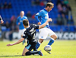 St Johnstone v Dundee....11.04.15   SPFL<br /> Chris Millar skips a Thomas Konrad tackle<br /> Picture by Graeme Hart.<br /> Copyright Perthshire Picture Agency<br /> Tel: 01738 623350  Mobile: 07990 594431