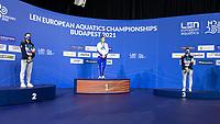 Gold Medal<br /> HANSSONSophie SWE<br /> Silver Medal<br /> CASTIGLIONIArianna ITA<br /> Bronze Medal<br /> CARRAROMartina ITA<br /> 100m Breaststroke Women<br /> Swimming<br /> Budapest  - Hungary  19/5/2021<br /> Duna Arena<br /> XXXV LEN European Aquatic Championships<br /> Photo Giorgio Scala / Deepbluemedia / Insidefoto
