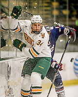 20 January 2017: University of Vermont Catamount Defenseman Jake Massie, a Freshman from St. Lazare, Quebec, in first period action against the University of Connecticut Huskies at Gutterson Fieldhouse in Burlington, Vermont. The Catamounts held onto their lead throughout the game to defeat the Huskies 5-4 in Hockey East play. Mandatory Credit: Ed Wolfstein Photo *** RAW (NEF) Image File Available ***