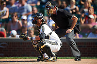Andy Yerzy (15) of York Mills Collegiate Institute in Toronto, Ontario and umpire Mike Droll during the Under Armour All-American Game on August 15, 2015 at Wrigley Field in Chicago, Illinois. (Mike Janes/Four Seam Images)