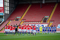 2nd April 2021, Oakwell Stadium, Barnsley, Yorkshire, England; English Football League Championship Football, Barnsley FC versus Reading; A minute silence is observed