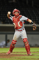 Peoria Javelinas catcher Cody Stanley (16) during an Arizona Fall League game against the Mesa Solar Sox on October 16, 2014 at Cubs Park in Mesa, Arizona.  Mesa defeated Peoria 6-2.  (Mike Janes/Four Seam Images)