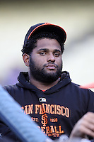 Pablo Sandoval #48 of the San Francisco Giants before a game against the Los Angeles Dodgers at Dodger Stadium on May 9, 2012 in Los Angeles,California. Los Angeles defeated San Francisco 6-2. (Larry Goren/Four Seam Images)