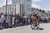 Wout van Aert (BEL/Jumbo-Visma) on his way to the pre stage team presentation <br /> <br /> Stage 4 from Tours to Chateauroux (160.6km)<br /> 108th Tour de France 2021 (2.UWT)<br /> <br /> ©kramon