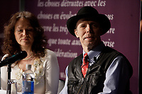 Montreal (Qc) CANADA, May9, 2007-<br /> <br /> Dr Gunther von Hagens (R) and Angelina Whalley (L) adress the Montreal Medias onsite of BODY WORKS<br />  exhibit at Montreal Science Center - Centre des Sciences de MontrÈal - running from May 10 to September 16, 2007 and Featuring plastination of human corpses, by Dr Gunther von Hagens.<br /> <br /> photo (c)  Images Distribution