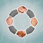 Illustrative image of businessmen shaking hands representing business agreement