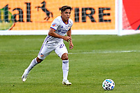 CHICAGO, UNITED STATES - AUGUST 25: Frankie Amaya #24 of FC Cincinnatii dribbles the ball during a game between FC Cincinnati and Chicago Fire at Soldier Field on August 25, 2020 in Chicago, Illinois.