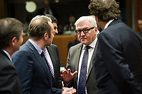 (L-R) Slovenian Foreign Minister Karl Erjavec, Denmark's Foreign Affairs Minister Martin Lidegaard, German Foreign Minister Frank Walter-Steinmeier , and Dutch Foreign Minister Bert Koenders  prior to the European Union Foreign Ministers Council at EU headquarters  in Brussels, Belgium on 29.01.2015 Federica Mogherini , EU High representative for foreign policy called extraordinary meeting on the situation in Ukraine after the attack on Marioupol.  by Wiktor Dabkowski