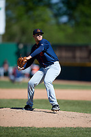 Bowling Green Hot Rods starting pitcher Adrian Navas (15) delivers a pitch during a game against the Beloit Snappers on May 7, 2017 at Pohlman Field in Beloit, Wisconsin.  Bowling Green defeated Beloit 6-2.  (Mike Janes/Four Seam Images)