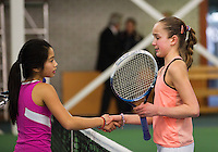 Rotterdam, The Netherlands, 07.03.2014. NOJK ,National Indoor Juniors Championships of 2014, 12and 16 years, Julie Belgraver (NED) congratulates Lian Tran (L) with her titel Dutch indoor champion girls 12 years indoor<br /> Photo:Tennisimages/Henk Koster