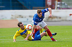 Cowdenbeath v St Johnstone....21.07.12  pre-season friendly.David Robertson tackles Mark Ramsay..Picture by Graeme Hart..Copyright Perthshire Picture Agency.Tel: 01738 623350  Mobile: 07990 594431