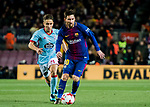 Lionel Andres Messi (R) of FC Barcelona fights for the ball with Emre Mor of RC Celta de Vigo during the Copa Del Rey 2017-18 Round of 16 (2nd leg) match between FC Barcelona and RC Celta de Vigo at Camp Nou on 11 January 2018 in Barcelona, Spain. Photo by Vicens Gimenez / Power Sport Images