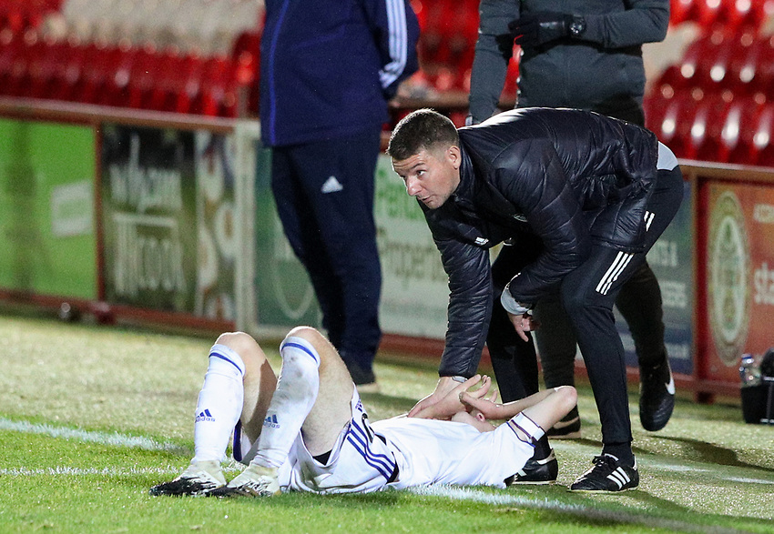 Leeds United U21's coach Mark Jackson helps Charlie Allen to his feet<br /> <br /> Photographer Alex Dodd/CameraSport<br /> <br /> EFL Trophy Northern Section Group G - Accrington Stanley v Leeds United U21 - Tuesday 8th September 2020 - Crown Ground - Accrington<br />  <br /> World Copyright © 2020 CameraSport. All rights reserved. 43 Linden Ave. Countesthorpe. Leicester. England. LE8 5PG - Tel: +44 (0) 116 277 4147 - admin@camerasport.com - www.camerasport.com