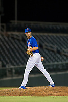 AZL Cubs relief pitcher Peyton Remy (54) checks a runner at first base during a game against the AZL Athletics on August 9, 2017 at Sloan Park in Mesa, Arizona. AZL Athletics defeated the AZL Cubs 7-2. (Zachary Lucy/Four Seam Images)