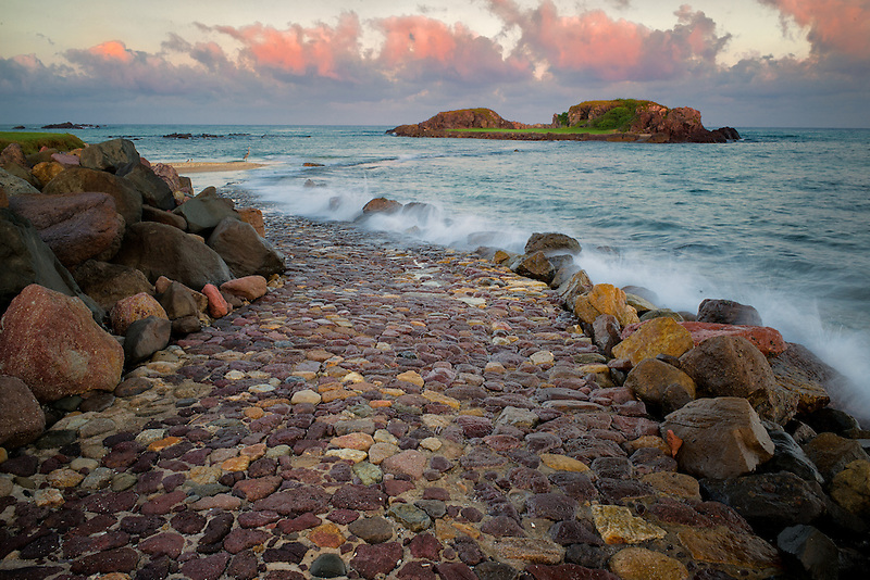 Rock road path leading to golf greean at Punta Mita Golf Course, Mexico. World's only natural ocean island golf course. Tail of the Whale