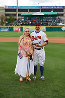 Buffalo Bisons second baseman Jon Berti (8) is presented with the Booster Club Award for Unsung Hero before a game against the Pawtucket Red Sox on August 31, 2017 at Coca-Cola Field in Buffalo, New York.  Buffalo defeated Pawtucket 4-2.  (Mike Janes/Four Seam Images)