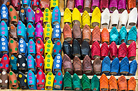 Fes, Morocco.  Leather Slippers for Sale in the Medina.