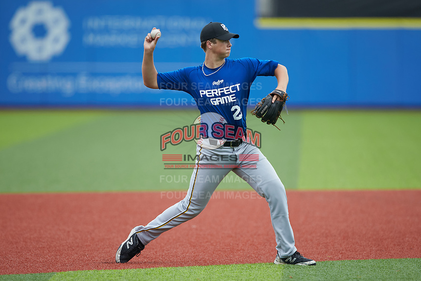 Third baseman Tom Echols (21) of Kerr-Vance Academy in Warrenton, NC makes a throw to first base during the Atlantic Coast Prospect Showcase hosted by Perfect Game at Truist Point on August 22, 2020 in High Point, NC. (Brian Westerholt/Four Seam Images)