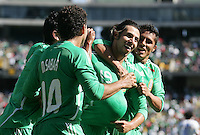 Luis Miuel Noriega (19) celebrates his goal with teammates. Mexico defeated Nicaragua 2-0 during the First Round of the 2009 CONCACAF Gold Cup at the Oakland, Coliseum in Oakland, California on July 5, 2009.