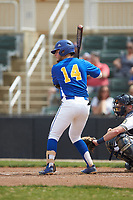 Paul Martin (14) of the Mars Hill Lions at bat against the Queens Royals at Intimidators Stadium on March 30, 2019 in Kannapolis, North Carolina. The Royals defeated the Bulldogs 11-6 in game one of a double-header. (Brian Westerholt/Four Seam Images)