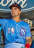 23 June 2019: New Hampshire Fisher Cats outfielder Chad Spanberger sits in the dugout prior to a game against the Trenton Thunder at Northeast Delta Dental Stadium in Manchester, NH. The Thunder defeated the Fisher Cats 5-2 in Eastern League play. Mandatory Credit: Ed Wolfstein Photo *** RAW (NEF) Image File Available ***