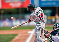 4 September 2017: Tri-City ValleyCats infielder Jonathan Arauz connects during the first game of a double-header against the Vermont Lake Monsters at Centennial Field in Burlington, Vermont. The ValleyCats split their games, winning 6-5 in the first, then dropping the second 7-4 in NY Penn League action. Mandatory Credit: Ed Wolfstein Photo *** RAW (NEF) Image File Available ***
