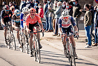 eventual race winner Mads Pedersen (DEN/Trek-Segafredo) en route<br /> <br /> 82nd Gent-Wevelgem in Flanders Fields 2020 (1.UWT)<br /> 1 day race from Ieper to Wevelgem (232km)<br /> <br /> ©kramon