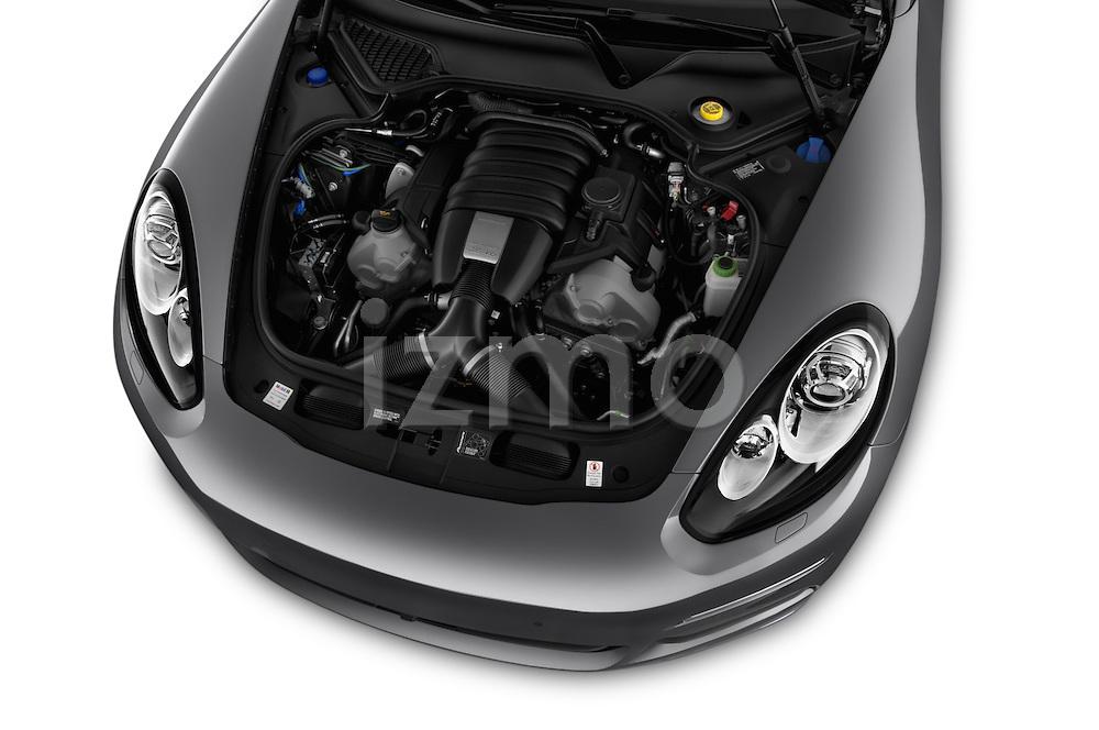 Car Stock 2015 Porsche Panamera - 5 Door Hatchback 2WD Engine high angle detail view
