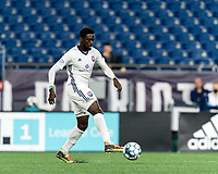 FOXBOROUGH, MA - SEPTEMBER 5: Raheem Somersall #13 of Tormenta FC passes the ball during a game between Tormenta FC and New England Revolution II at Gillette Stadium on September 5, 2021 in Foxborough, Massachusetts.