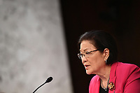 United States Senator Mazie Hirono (Democrat of Hawaii), makes a statement during the US Senate Judiciary Committee business meeting on the nomination of Amy Coney Barrett to be an associate justice of the US Supreme Court in the Hart Senate Office Building on Capitol Hill in Washington, DC on October 15, 2020. <br /> Credit: Mandel Ngan / Pool via CNP /MediaPunch