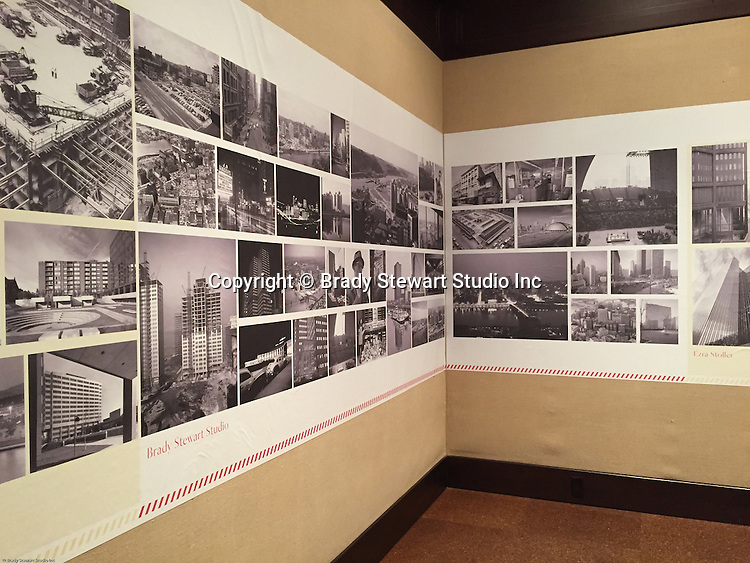 Pittsburgh PA:  View of the architectural view area of the Imaging for Modern exhibition inside the Carnegie Museum of Art.  Photographs from the Brady Stewart Studio Archives were used in the exhibition about Pittsburgh's architectural evolution 1945-1970.<br /> The images were selected by the consultant's Over Under due to the quality and the unique city views.  From 1945 to 1970 Brady Stewart Studio was the largest commercial photography studio in western Pennsylvania.<br /> The Exhibition runs from September 1915 thru May 2016.  Press release can be found at the following internet address; http://press.cmoa.org/2015/05/27/hac-lab-pittsburgh/.